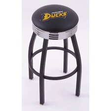 National Hocky League Single Ring Swivel Barstool with Black Base And Solid Weld Chrome Base