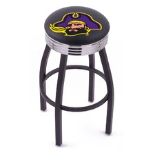 NCAA Single Ring Swivel Barstool with Black Base And Solid Weld Chrome Base