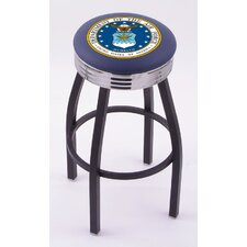 US Military Single Ring Swivel Barstool with Black Base And Solid Weld Chrome Base