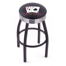 Gambling Single Ring Swivel Barstool with Black Base And Solid Weld Chrome Base