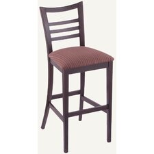 Designer Ladder-Back Solid Hardwood Stationary Bar Stool
