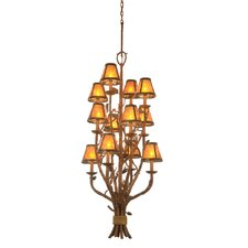 Ponderosa 12 Light Chandelier with Mica Shades