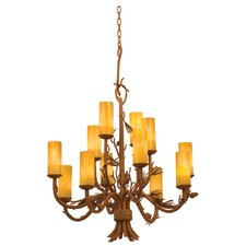 Ponderosa 12 Light Chandelier with Faux Calcite Shade