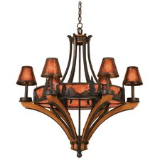 Aspen 6 Light Chandelier with Mica Shade