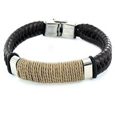 Braided Band Wrapped Twine Center Bracelet