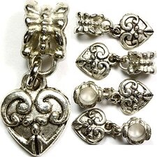 Fancy Heart Antique Bead Charm
