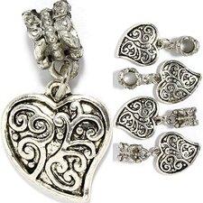 Fancy Heart Bead Charm