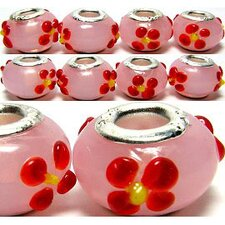 Red Flowers Glass Bead (Set of 3)