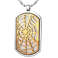 Stainless Steel Web Dog Tag Necklace