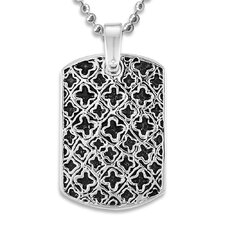 Stainless Steel Antiqued Medieval Dog Tag Necklace