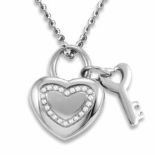Stainless Steel Cubic Zirconia Heart and Key Necklace