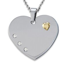 Goldplated Steel Cubic Zirconia Heart Necklace
