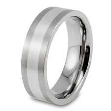<strong>West Coast Jewelry</strong> Men's Brushed Titanium Sterling Silver Inlay Ring