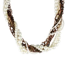 Coppertone Chain Faux Pearl Multi-strand Necklace