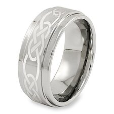 Men's Tungsten Carbide Ridged Edge Comfort Fit Ring with Celtic Knot Laser