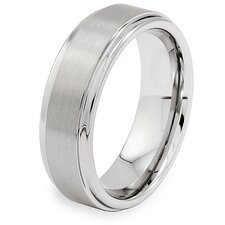 Men's Tungsten Carbide Brushed and Ridged Comfort Fit Ring
