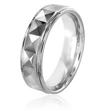 Men's Tungsten Carbide Ridged Ring