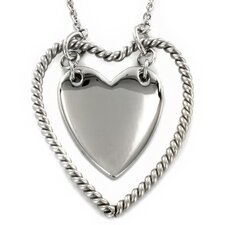 Stainless Steel Rope Double Heart Necklace