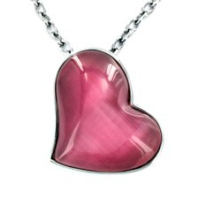 Stainless Steel Heart Cat's Eye Pendant Necklace