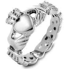 Women's Stainless Steel Heart Cut Claddagh Ring
