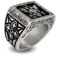 Stainless Steel Royal Empire Shield Religious Band Ring