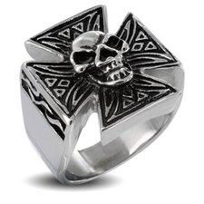Men's Stainless Steel Iron Skull Cross Ring