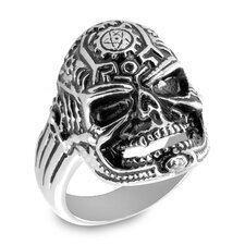 Stainless Steel Pentagram Clockworks Death Skull Cast Ring