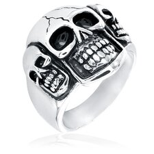 Stainless Steel Triple Skull Cast Ring