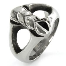 Stainless Steel Layered Leaf and Branch Ring