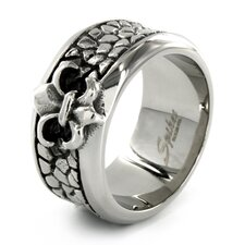 <strong>West Coast Jewelry</strong> Stainless Steel Fleur de Lis Stone Textured Ring