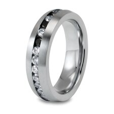 Stainless Steel Round Cubic Zirconia Stacking Ring