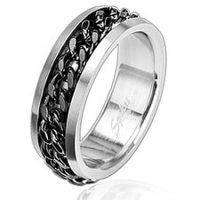 Stainless Steel Chain Spinner Band Ring