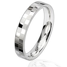 Two-tone Stainless Steel Checkered Band Ring