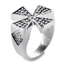 Men's Stainless Steel Textured Iron Cross Ring