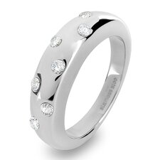Stainless Steel Clear Crystal Band Ring