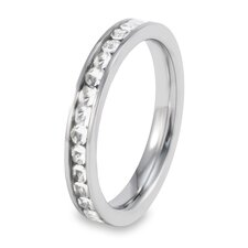 Women's Stainless Steel Polished Cubic Zirconia Eternity Band Ring