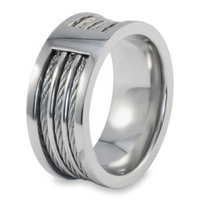 <strong>West Coast Jewelry</strong> Stainless Steel Cable Inlay Ring