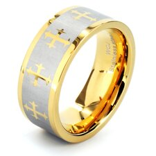 Men's Goldtone Stainless Steel Laser Cross Ring