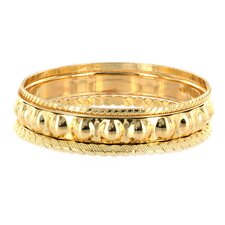 3 Piece Stackable Various Faceted Texture Goldtone Bangle Bracelet Set