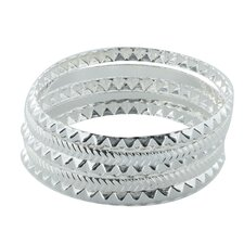 5 Piece Stackable Faceted Pattern Silvertone Bangle Bracelet Set