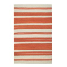 Jagges Orange/Beige Stripe Saffron Outdoor Area Rug