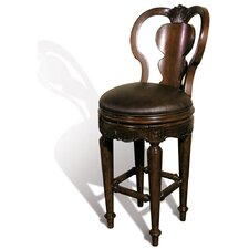 Windsor Rounded Swivel Bar Stool in Distressed Dark Espresso