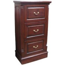 Mahogany 3 Drawer Filing Cabinet with Brass Handles in Mahogany