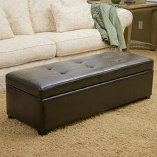 London Leather Storage Ottoman Bench