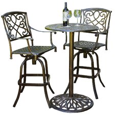Santa Maria 3 Piece Bar Height Bistro Set