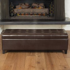 <strong>Home Loft Concept</strong> Mission Bonded Leather Tufted Storage Ottoman Bench in Brown