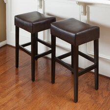 "George Backless 31"" Leather Bar Stool (Set of 2)"