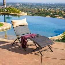 Terrace Outdoor Wicker Loung Chair and Ottoman Set with Pillow