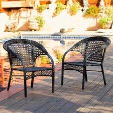 Ashworthe Wicker Fan Back Outdoor Club Chairs (Set of 2)