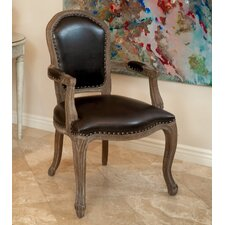 Carolina Leather Weathered Wood Arm Chair